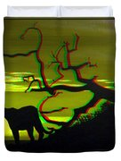 Big Cat Silhouette -  Use Red-cyan 3d Glasses Duvet Cover