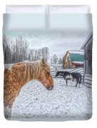 Big Horse  Little Horse Duvet Cover by Skye Ryan-Evans
