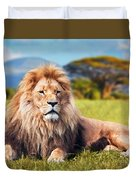 Big Lion Lying On Savannah Grass Duvet Cover
