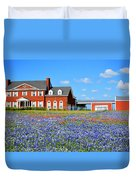 Big Red House On Bluebonnet Hill Duvet Cover