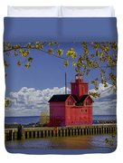 Big Red Lighthouse By Holland Michigan No.0255 Duvet Cover