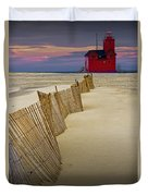 Big Red Lighthouse With Sand Fence At Ottawa Beach Duvet Cover