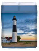 Big Sable Point Lighthouse Sunset Duvet Cover