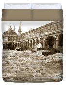 Big Storm Waves At Santa Cruz Beach And Casino And Beach Ca Circa 1925 Duvet Cover