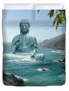Big Sur Tea Garden Buddha Duvet Cover by Alixandra Mullins