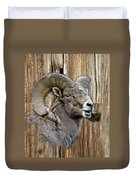 Bighorn Sheep Barnwood Duvet Cover