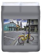 Bike And 3 Georges In Mobile Alabama Duvet Cover