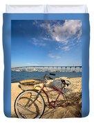 Bike And A Brdige Duvet Cover