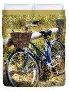 Bike At Nantucket Beach Duvet Cover