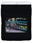 Bike At Subway Entrance Duvet Cover