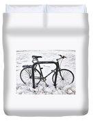 Bike In The Snow Duvet Cover