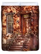 Bike - Ny - Greenwich Village - An Orange Bike  Duvet Cover by Mike Savad