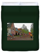 Bike Race On Orange Day In Enkhuizen-netherlands Duvet Cover