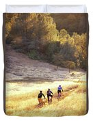 Bikers On Foresthill Divide Trail Duvet Cover