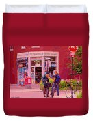 Bikes Backpacks And Cold Beer At The Local Corner Depanneur Montreal Summer City Scene  Duvet Cover