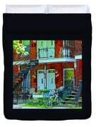 Bikes Balconies Brick Houses Flower Boxes Verdun Duplex Stairs Summer Scenes Carole Spandau Duvet Cover