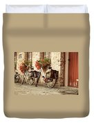 Bikes In The School Yard Duvet Cover