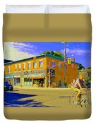 Biking By The Bakery On Bank The Glebe Nicastro Foods And David's Tea Ottawa Streetscene Cspandau    Duvet Cover