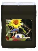 Bluebird And Tea Cup Duvet Cover