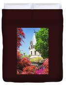 Biltmore And Japanese Maple Trees Duvet Cover