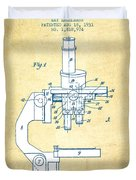 Binocular Microscope Patent Drawing From 1931 - Vintage Paper Duvet Cover