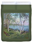 Birch Trees By The River Duvet Cover