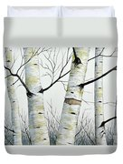 Birch Trees In The Forest By Christopher Shellhammer Duvet Cover