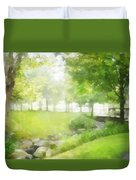 Birches And Stream Duvet Cover