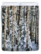 Birches In The Winter Duvet Cover