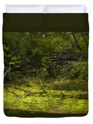 Bird By Bridge In Forest Merged Image Duvet Cover