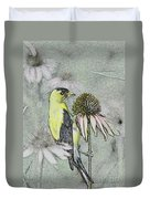Bird Eating Seeds For One Digital Art Duvet Cover