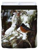 Bird In Snow Duvet Cover