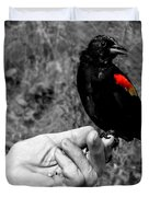 Bird In The Hand.seattle.bw Duvet Cover