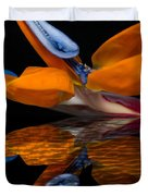 Bird Of Paradise Reflective Pool Duvet Cover