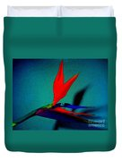 Bird Of Paradise With Blue Background Duvet Cover