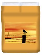 Bird Sitting On Prison Fence Duvet Cover