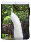 Bird - White Peacock Pose- Luther Fine Art Duvet Cover