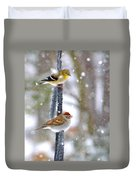 Birds In A Snowstorm Duvet Cover