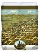 Birdseye View Of Austin Minnesota 1870 Duvet Cover