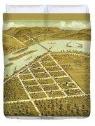 Birdseye View Of Prairie Du Sac Wisconsin 1870 Duvet Cover