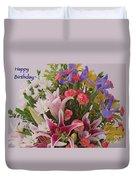 Birthday Bouquet Card Duvet Cover