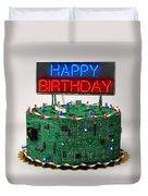 Birthday Cake For Geeks Duvet Cover