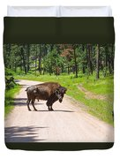 Bison Blocking The Road Duvet Cover