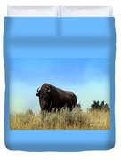 Bison Cow On An Overlook In Yellowstone National Park Duvet Cover