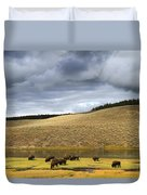 Bison Grazing Along The Yellowstone River In Hayden Valley Duvet Cover