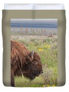 Bison In The Flowers Ingrand Teton National Park Duvet Cover