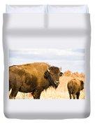 Bison On Tall Grass Iv Duvet Cover