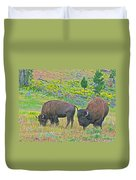 Bison Pair In Hayden Valley In Yellowstone National Park-wyoming  Duvet Cover