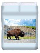 Bison Plodding Along On Alaska Highway-bc-canada Duvet Cover