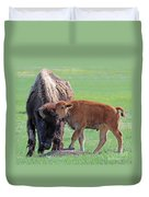 Bison With Young Calf Duvet Cover